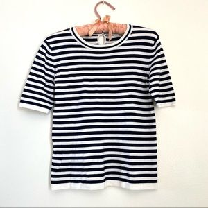 ZARA blue and white striped knit top